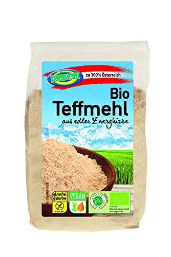 Harina de teff austriaca ecológica, sin gluten 1,8kg Bio biológica, sin OMG, de teff de grano entero de Austria, mijo miniatura orgánico, extra limpio y sin datura 6x300g
