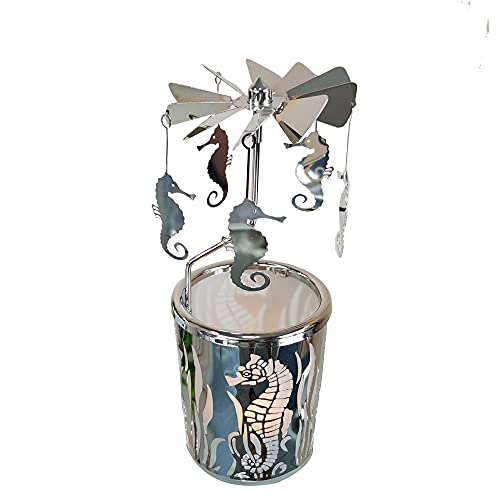 kingnero Hippocampal Rotary Candle Holder Scandinavian Design Rotating Candlestick Silver Home Decoration Ornaments