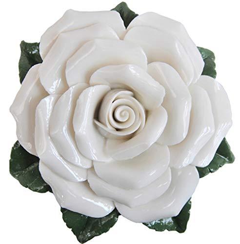 Rosa – Blanco – Flor de porcelana – Flor decorativa – Regalo – Decoración de jardín – Decoración de mesa – Decoración de flores – Decoración para tumbas – Rosa luto – Resistente a la intemperie