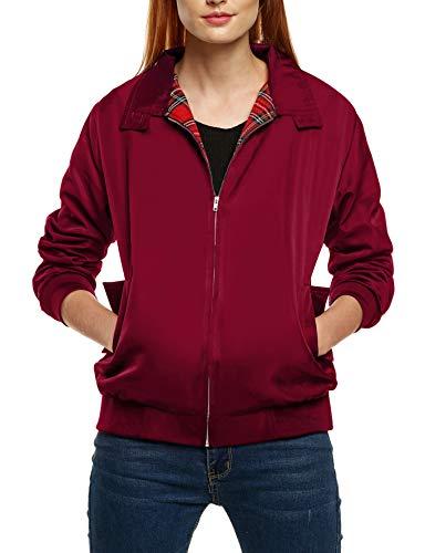 Zeagoo Damen Jacke / Mantel / Jacke warme starke Velour-Vintage-Reißverschluss -12-14 (Hersteller Größe: M) Rouge