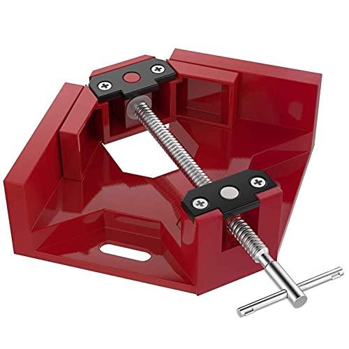 KEKEYANG Herramientas Cierre derecho de ángulo, sola manija esquina de 90 ° Clamp, aleación de aluminio de ángulo recto del marco de la abrazadera de sujeción de herramientas de la carpintería de foto