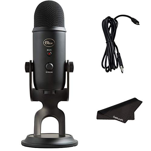 Newest Blue Yeti USB Microphone with 4 Pickup Patterns, 3 Condenser Capsules, Mic Gain Control & Adjustable Stand for Gaming, Streaming, Podcasting on PC & Mac, Blackout with GalliumPi Accessories