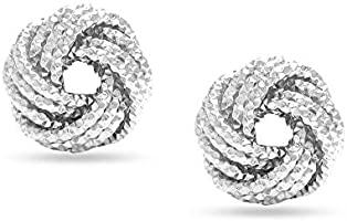 HIKARO Sterling Silver Jewelry Diamond-Cut Love-Knot Stud Earrings for Women 10 MM