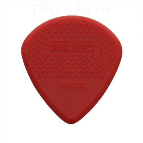 Plettri Jim Dunlop sottili antiscivolo rossi Max Grip Jazz III per chitarra - 6 pezzi, con...