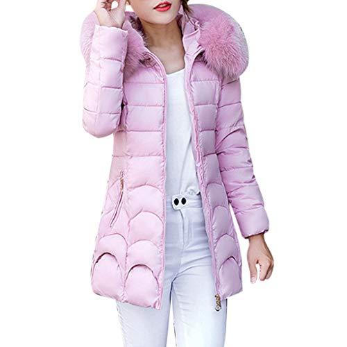 Abrigos de talla grande, mujeres con capucha Outwear abrigo cálido grueso cuello peludo, chaqueta delgada de algodón, forJacket para mujer venta de invierno (rosa)