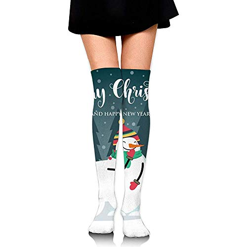 Be-ryl Über dem Knie lange Socken Weihnachtskarte mit niedlichen Eichhörnchen Schneemann Frauen Mädchen Thight High Boot Socken 60 CM