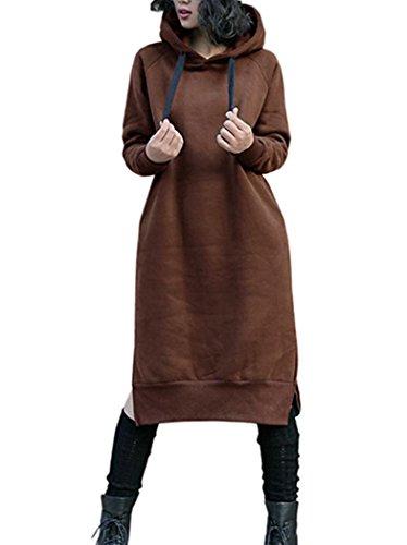 Nutexrol Damen Winter Hoodie Kapuzenpullover Lang Kapuzenjacke Sweatjacke Übergröße Kleider Sweatshirt Warm Outwear mit Fleece-Innenseite, Braun, XL