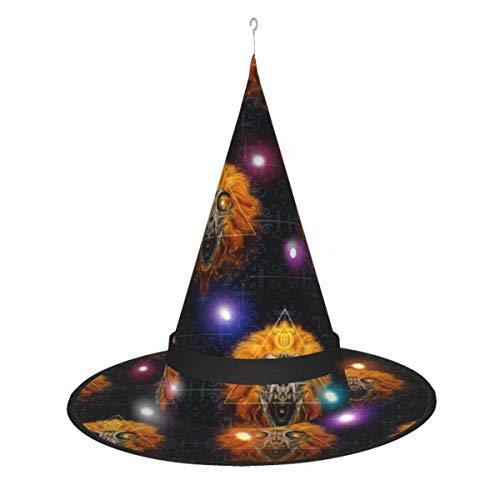 Apollo, cappello da strega, decorazione per Halloween, sole, leone, luna, serpenti, da appendere a forma di cappello da strega illuminato, per adulti e bambini, decorazione all'aperto, albero, cortile