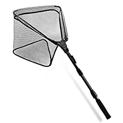powerful SAN LIKE Fishing Landing Net – A foldable fishing net with a long stretchable handle that can reach up to 43 inches.For safe fishing and stocking of fish