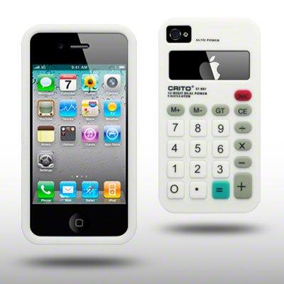 Unbekannt SILIKON Skin SCHUTZHÜLLE MIT TASCHENRECHNER Aufdruck FÜR iPhone 4 / iPhone 4S IN WEIß