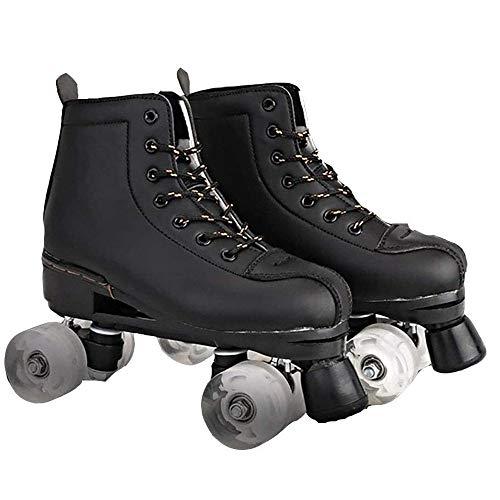 YUANYI Damen Rollschuhe Erwachsene Zweireihige Schlittschuhe Für Frauen Geburtstagsgeschenke,Black-43