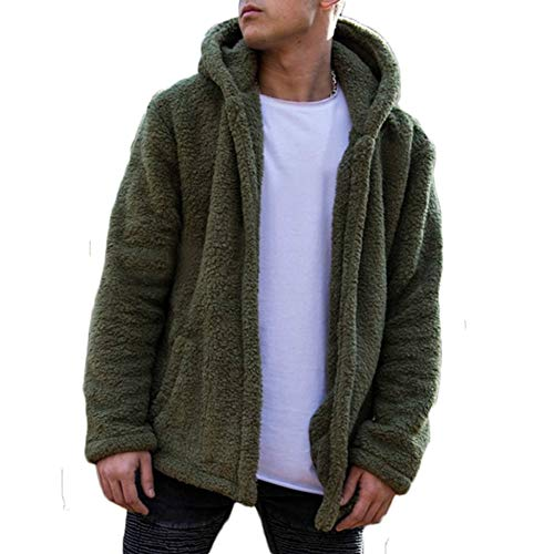 Men Hooded Jacket Fuzzy Sherpa Fleece Open Front Cardigan Winter Coat with Pockets (XXL, Green)