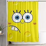 CDMT-XU1 Duschvorhang Schaum Spongebob Kunstdruck, Polyester Stoff Badezimmer Dekorationen Sammlung mit Haken 60X72 Zoll