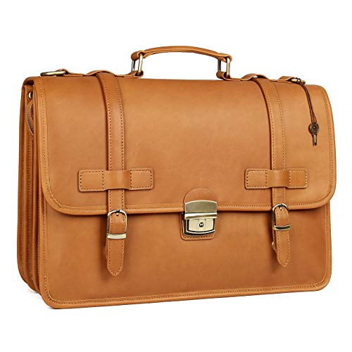 Augus Leather Briefcases Messenger for Men Waterproof Business Travel Duffle bag 14 inch Laptop Bags(Tan)