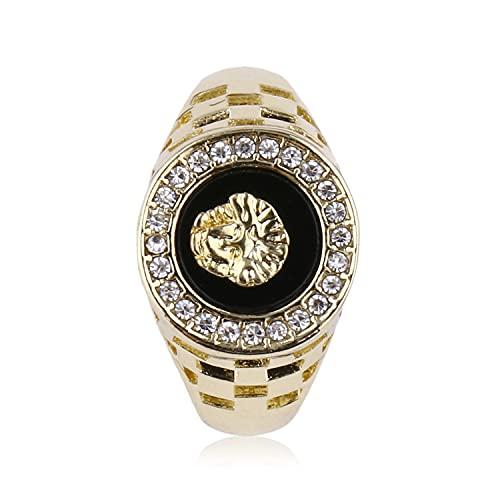 HHuin Diseño especial de moda hombres metal león cabeza decoración anillo partido club anillo joyería mejor regalo