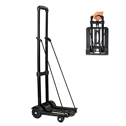 Wincspace Lightweight Folding Hand Cart Dolly Fold Up Hand Truck Portable Utility Moving Shopping Cart-Portable Fold Up Dolly (4wheel/165lbs) (4 Wheel)