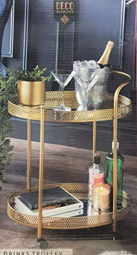 AJ 2 Tier Gold Mirror Shelves Vintage Style Metal Kitchen Serving Trosmo Trolley with Drinks Wine Rack Side End Table