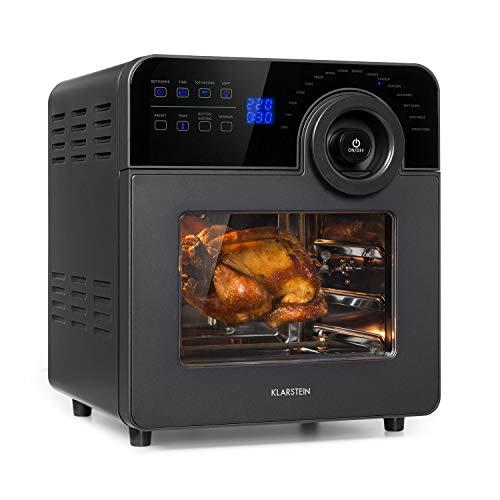 KlarsteinAeroVital Cube Chef - Freidora de aire caliente, 1700 W, 50-220 °C, Pincho giratorio, Tecnología DuoHeating, Volumen interior 14 L, Pantalla táctil, 16 programas, Ventana panorámica, Negro