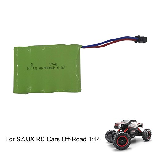 SZJJX Rechargeable Battery 6V 700mAh High Capacity Battery Pack RC Cars Rock Off-Road Racing Vehicle Crawler Truck 2.4Ghz 4WD High Speed 1:14 Buggy Fast Race Hobby