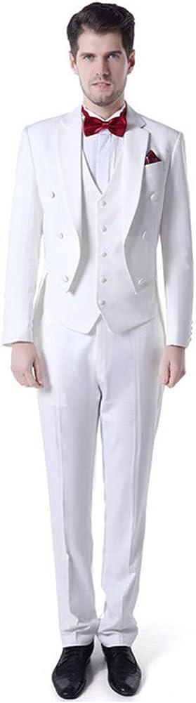 Swallow Tailed Men Suits (Jacket+Pants+Vest) Slim Fit Peak Lapel Blazer Wedding Prom Grooms Tuxedo Plus Size