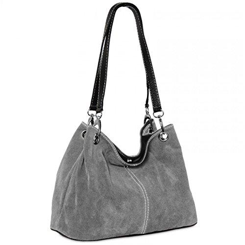 Caspar TL621 klassische Damen Wildleder Handtasche, Farbe:dunkelgrau