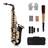 Muslady Eb Alto Saxophone Sax Brass Lacquered Gold 82Z Key Type Woodwind Instrument with Padded Carry Case...
