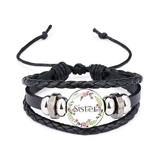 SLVVL Sister lederen armband meerlaagse kralen armband