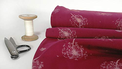 mollipolli-Stoffe Baumwoll Jersey Pusteblume rosa auf pink 0,5m