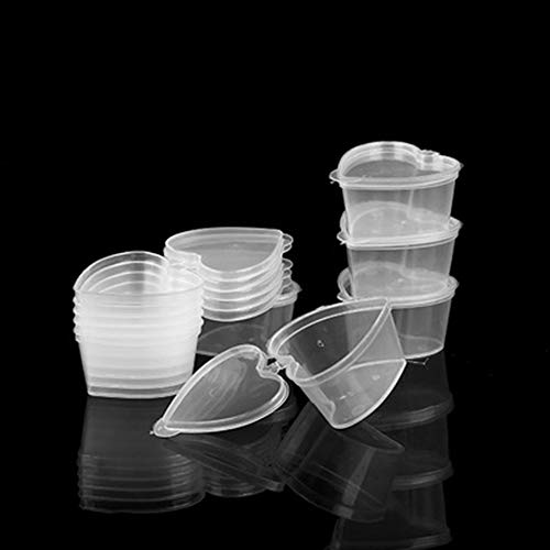 40 Pieces 45 ML Disposable Sauce Cups with Lids Heart Shaped Portion Cups Jello Shot Cups Container by EORTA for Party, Picnic, Barbeque, Outside Catering, Tasting Events, Clear