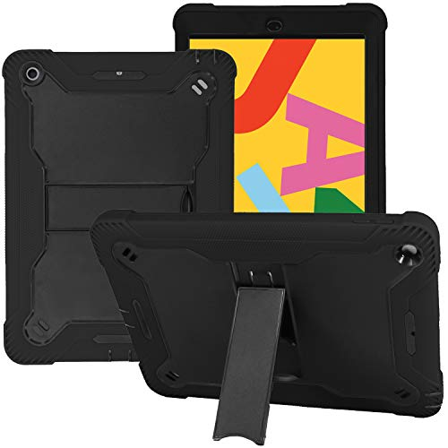 iPad 10.2 7th 8th Gen Guardian Case KIQ Heavy Duty Cover Dual-Layer Impact Drop Protection with Kick Stand for Apple 10.2-inch iPad 7 (2019) / iPad 8 (2020) [Black in / Black Out]
