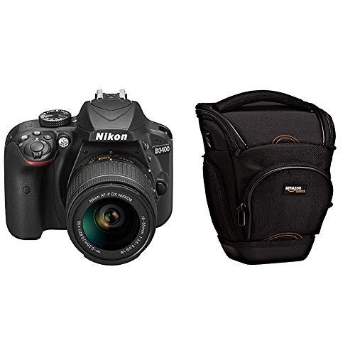 Nikon D3400 - [Versión Nikonistas] Kit cámara réflex 24.2 MP con objetivo estabilizado 18-55 AFP DX VR (LCD, Full HD), negro & AmazonBasics - Funda para cámara de fotos réflex, color negro
