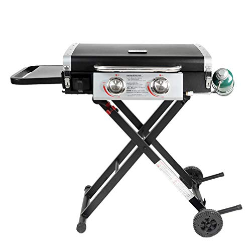Razor Griddle GGC2030M Outdoor 2 Burner Portable LP Propane Gas Grill Griddle w/ Top Cover Lid, Wheels, and Shelf for BBQ Cooking, Black (Steel) Grills Propane