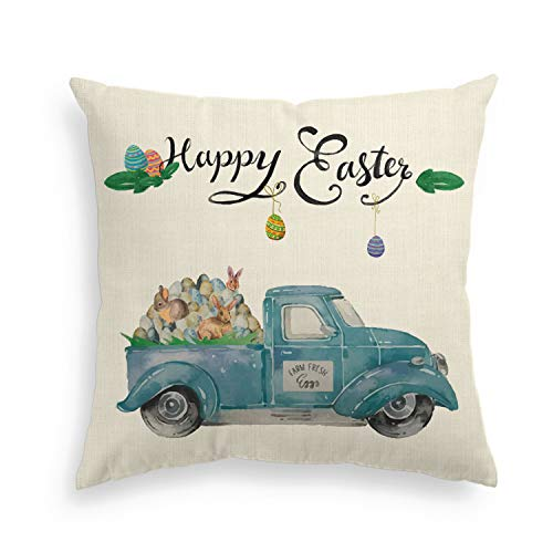 AVOIN Happy Easter Pillow Cover Truck Loads of Eggs Farmhouse Decorative Throw Pillowcase, 18 x 18 Inch Spring Cute Cushion Protector for Sofa Couch Home Decor