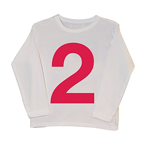 T-shirt rose vif avec inscription « I AM 2 » - Cadeau de deuxième anniversaire - Pour bébé