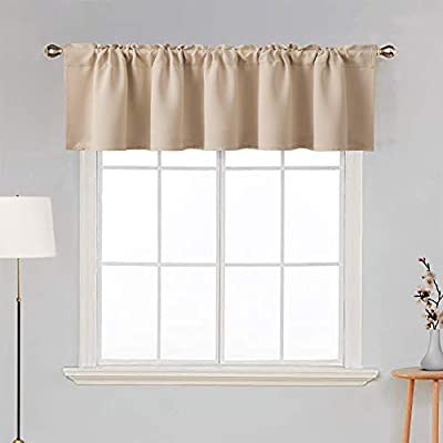 MIULEE Blackout Valance Rod Pocket Thermal Insulated Window Treatment Tiers Solid Short Curtain for Small Window Bedroom 42 x 18 Inches 1 Panel Beige
