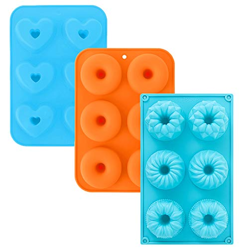 3Pcs Silicone Donut Pans, 3-Inch Silicone Donut Mold, Cake Baking Tray, Non-Stick Mold, Doughnut Pan, Donut Baking Pan for 6 Full-Size Donuts(2 Blue&1 Orange)