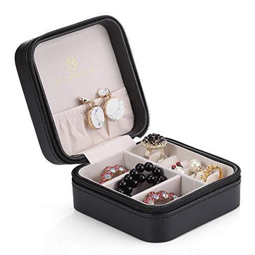 Vlando Small Travel Schmuckschatulle Aufbewahrungstasche für Ringe Ohrringe Halskette (Schwarz)