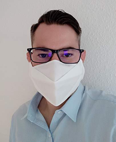 KFS3 Brillenträger Behelfs Mundschutz Maske in verschiedenen Farben aus mehrlagigem Vlies - für mittelgroße bis große Gesichter - Handmade – kein Brillenbeschlagen -