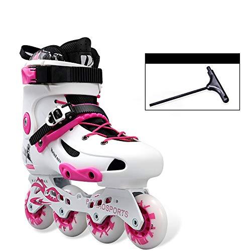 CYGJLYZ Roller Skates Inline Skate Adult Skates Inline Skates einreihig Licht Skates Männer und Frauen Skating-Schuhe Muster Rollschuh (Color : Pink, Size : 42)