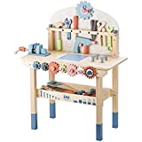 JOLIE VALLÉE TOYS & HOME Workbench Wooden,Tool Bench for Kids Toy Play -Tool Bench Workshop Workbench with Tools Set Wooden Construction Bench Toy for 3 4 5 Year Old Boys Girls