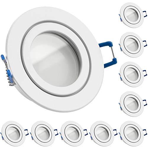 10er IP44 LED Einbaustrahler Set Weiß mit LED GU10 Markenstrahler von LEDANDO - 5W DIMMBAR - warmweiss - 110° Abstrahlwinkel - Feuchtraum/Badezimmer - 35W Ersatz - A+ - LED Spot 5 Watt rund
