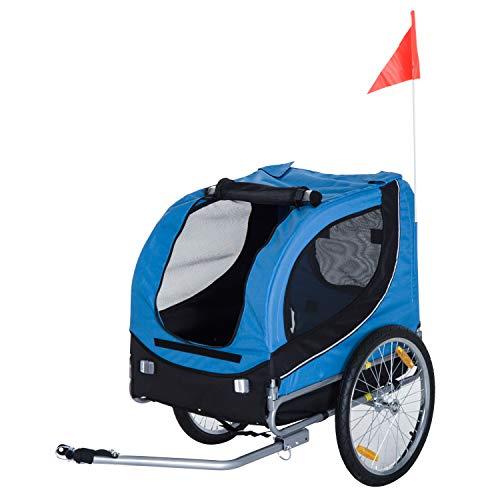 PawHut Remolque Bicicleta Perros Mascota 1 Bandera 6 Reflectores Remolque Bici Azul...