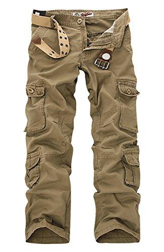 Panegy Adultes Combat Pantalon pour Homme Treillis Militaire Pantalon de Travail Loisir Sport Multi Poches Coton avec Ceinture - Marron - Taille 36