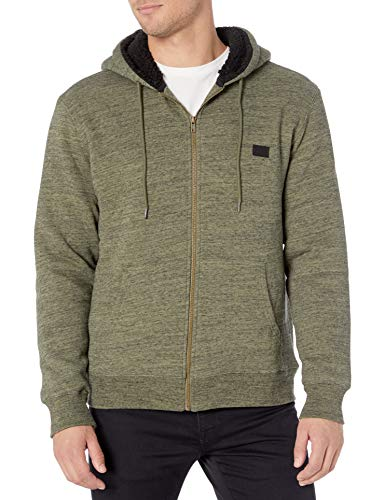 RVCA Men Hyde Sherpa Zip-Up Jacket Green Medium