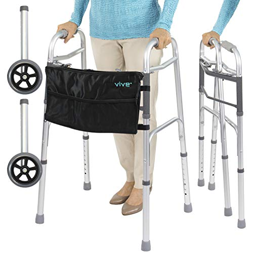 Vive Folding Walker (Plus Bag and 2 Wheels) - Front Wheeled Support, Narrow 23 Inch Wide - Adjustable, Lightweight Portable, Compact Elderly, Handicap Medical Walking Mobility Aid - Push Button Close