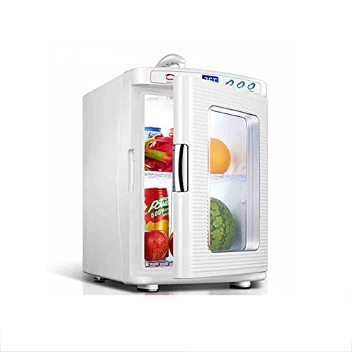 25L Mini Fridge, Temperature Control Panel, Built-in Silent Cooling Fan and Detachable Partition, Glass Door, Camping Fridge With Hidden Handle, Portable Beauty Fridge for Homes, Offices, and Dorms