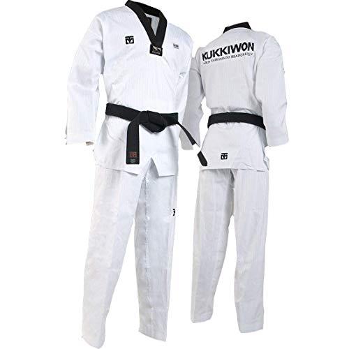 Mooto Uniformes de Taekwondo kukkiwon Uniforme tae kwon do dobok Mundo Coreano para Hombre 180 (US4) (5,57~5.90ft o 170-180cm) Blanco