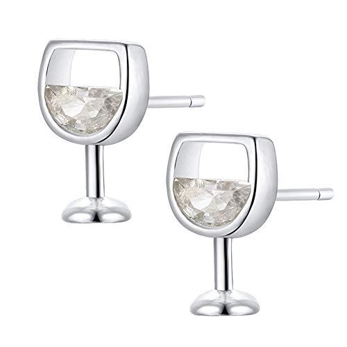 JGONas Mode Eingelegte Weinglas Ohrstecker, Einfache Frauen Hohle Weinglas Zirkonia Ohr Ohrstecker Ohrringe Schmuck Silber