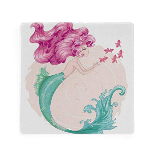 Olinyou Watercolor Mermaid Fish Coaster for Drinks 1 Pieces Absorbent Moisture Absorbing Ceramic Stone Square Coaster with Cork Base