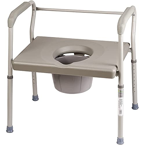 Duro-Med DMI Adjustable Bedside Commode Chair for Adults Can Be Used with Included 7 Quart Pail or as a Toilet Riser and Safety Frame Easily Fitting Over Standard Toilet, 500 lb Weight Capacity